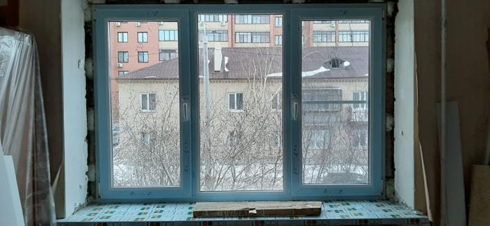 Большое окно в зал - 3 створки